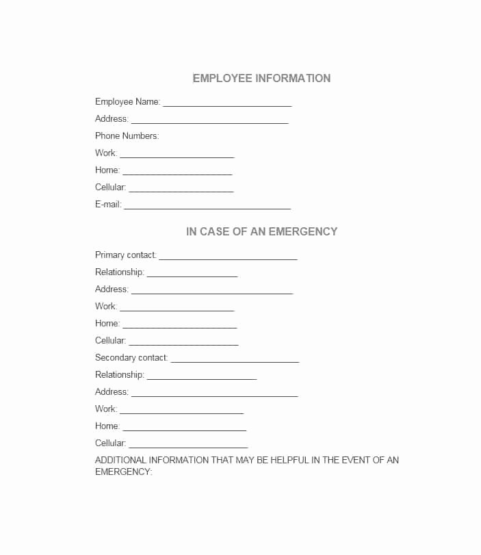 54 Free Emergency Contact forms [employee Student]