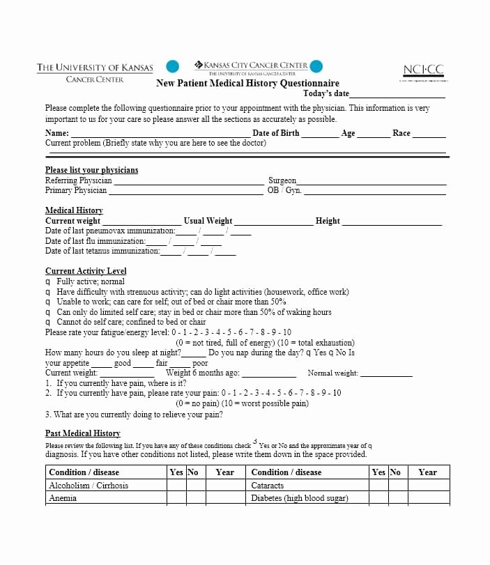 59 Health History Questionnaire Templates [family Medical]
