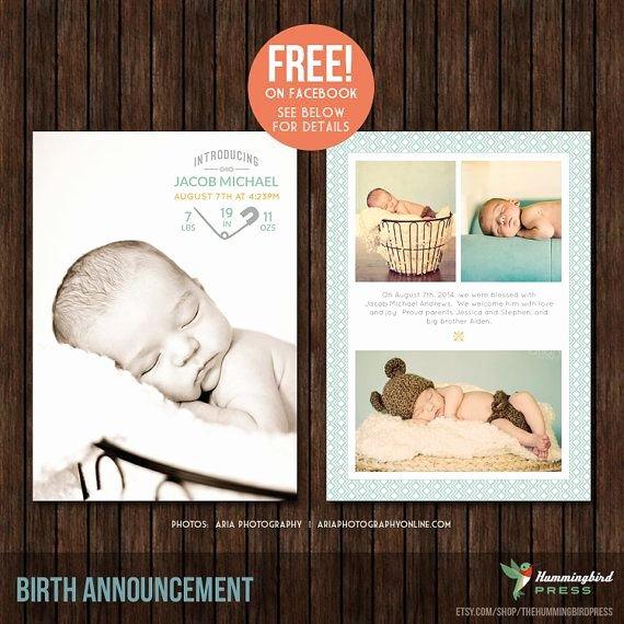 5x7 Birth Announcement Template B33