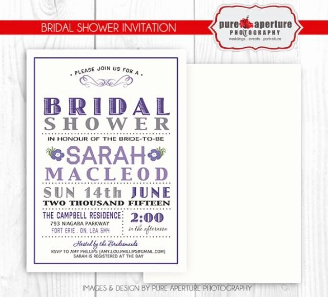 5x7 Lavendar Purple Bridal Shower Invitation Postcard