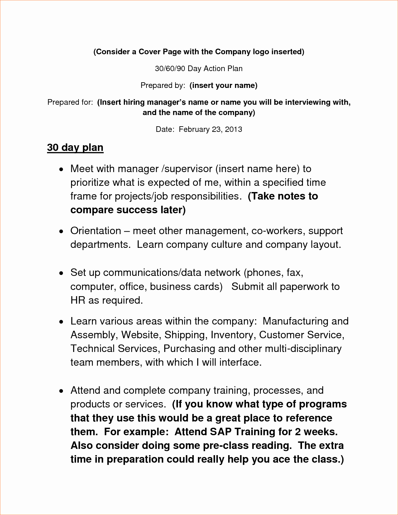 6 30 60 90 Day Action Plan Templatereport Template