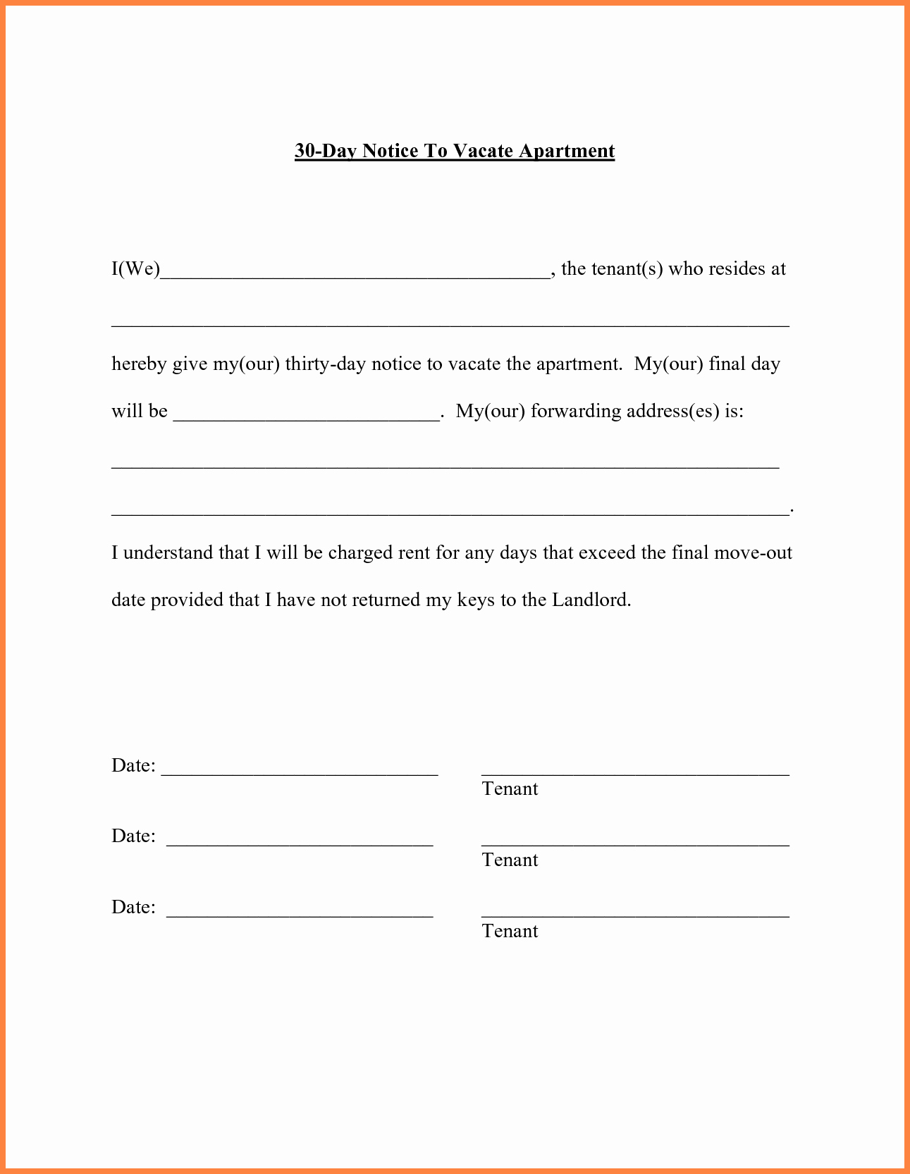 6 30 Day Move Out Notice Template