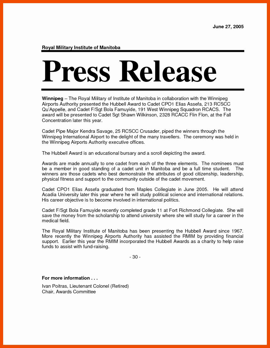 6 7 Press Release format