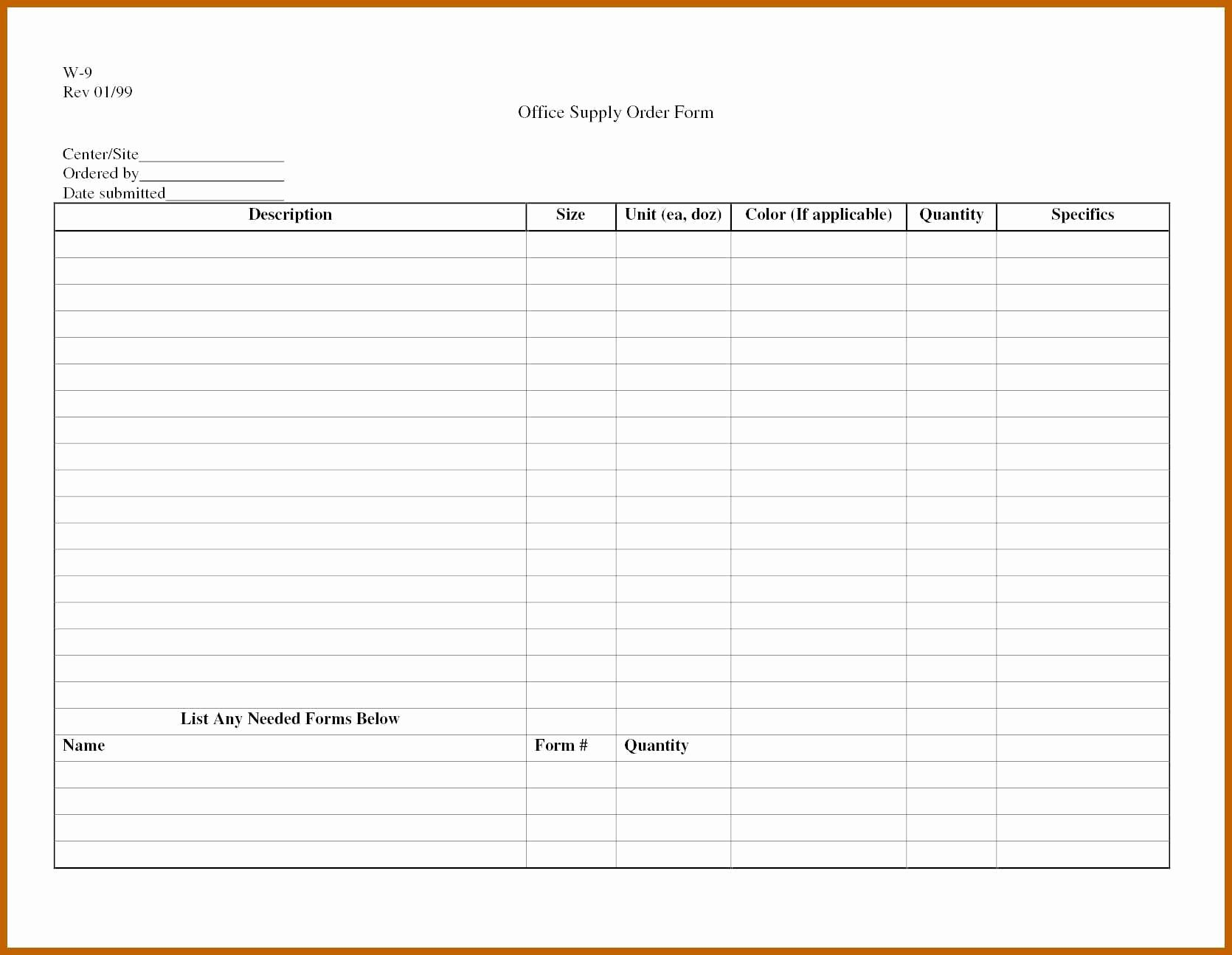 6 7 Supplies List Template