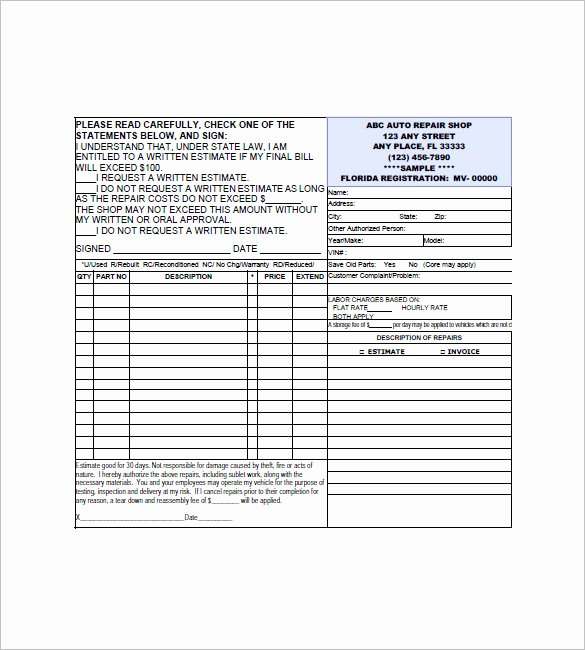 6 Auto Repair Invoice Templates Doc Pdf