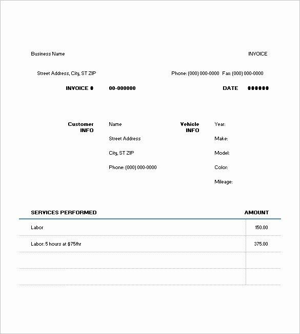 6 Auto Repair Invoice Templates Doc Pdf