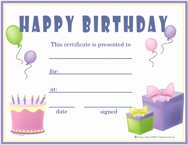 6 Best Of Birthday Printable Gift Certificates