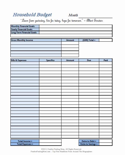 6 Best Of Blank Printable Monthly Bud Worksheet