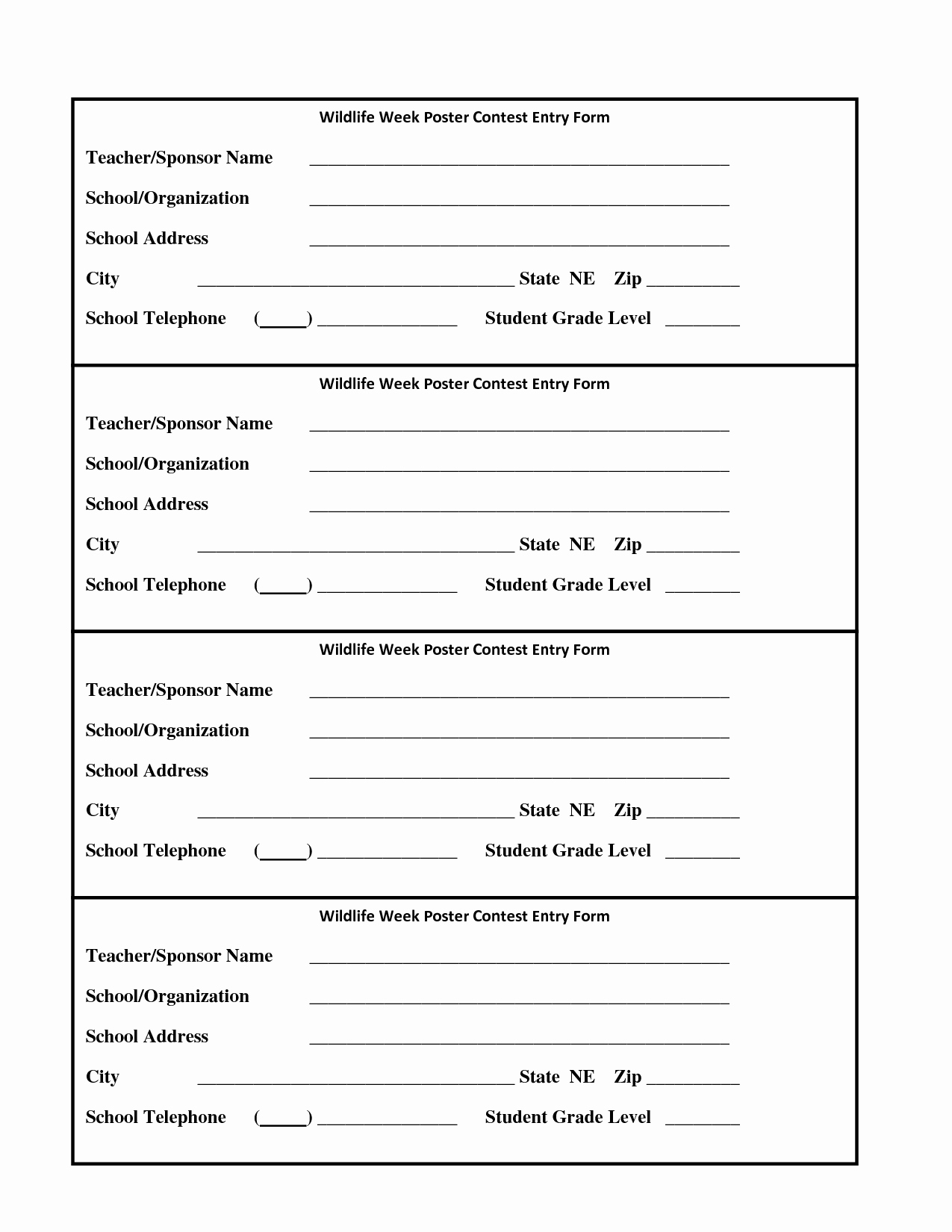 6 Best Of Drawing Entry forms Printable Blank
