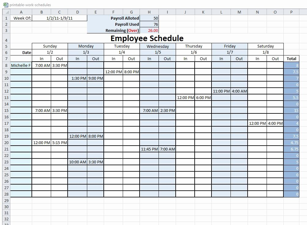 6 Best Of Free Printable Blank Work Schedules