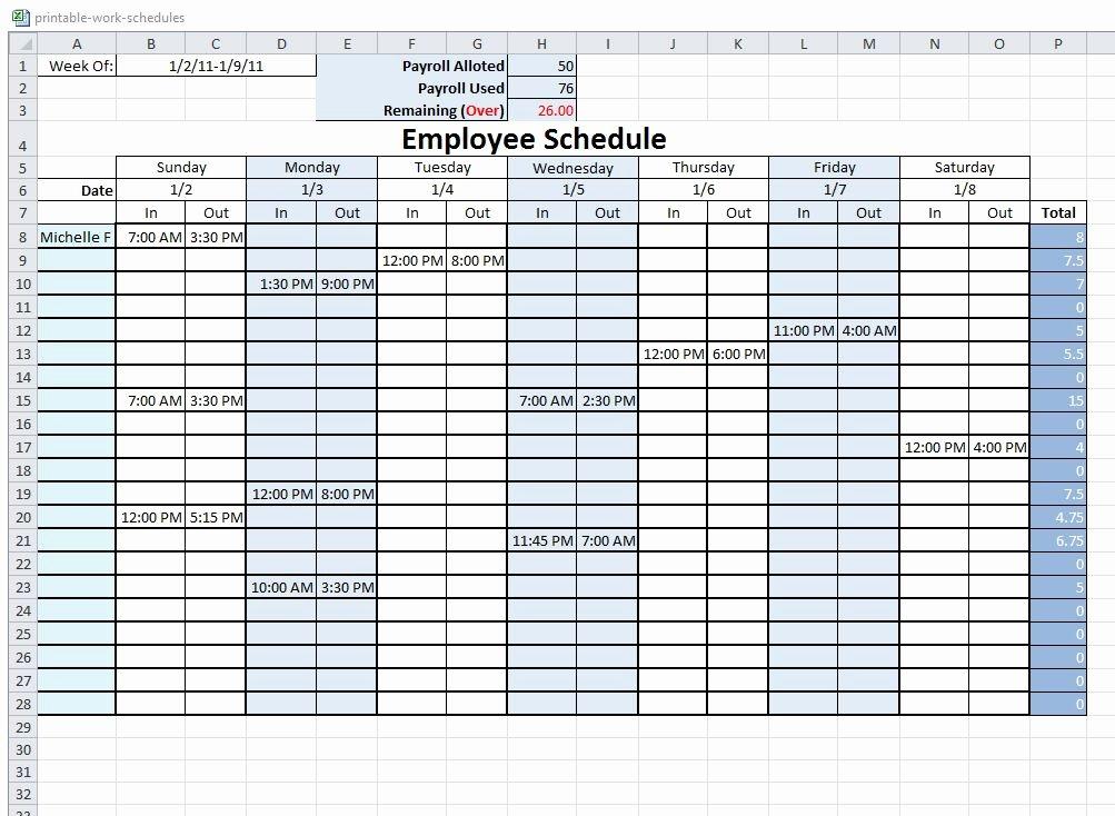 6 Best Of Free Printable Blank Work Schedules