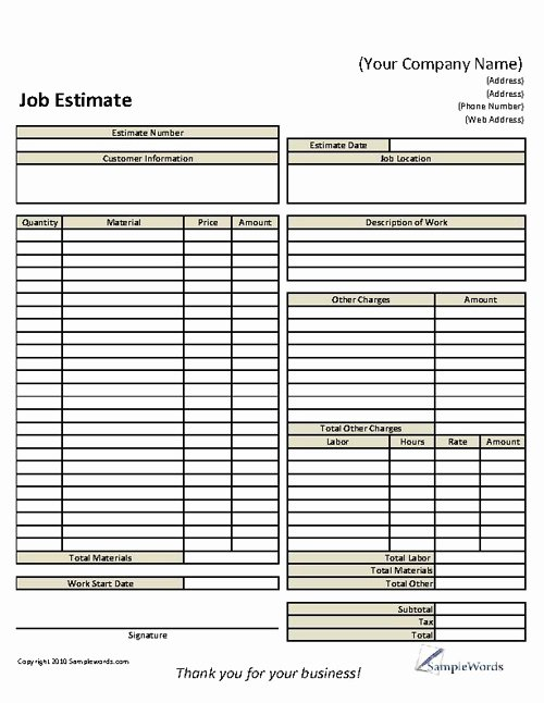 6 Best Of Free Printable Estimate forms Templates