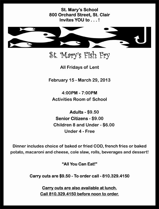 6 Best Of Free Printable Fish Fry Flyer Church