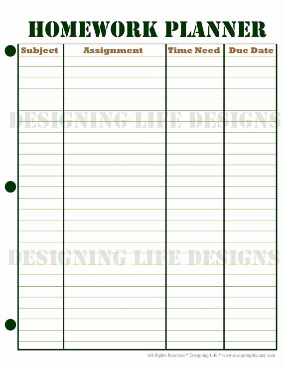 6 Best Of Printable Homework Agenda Sheet Free