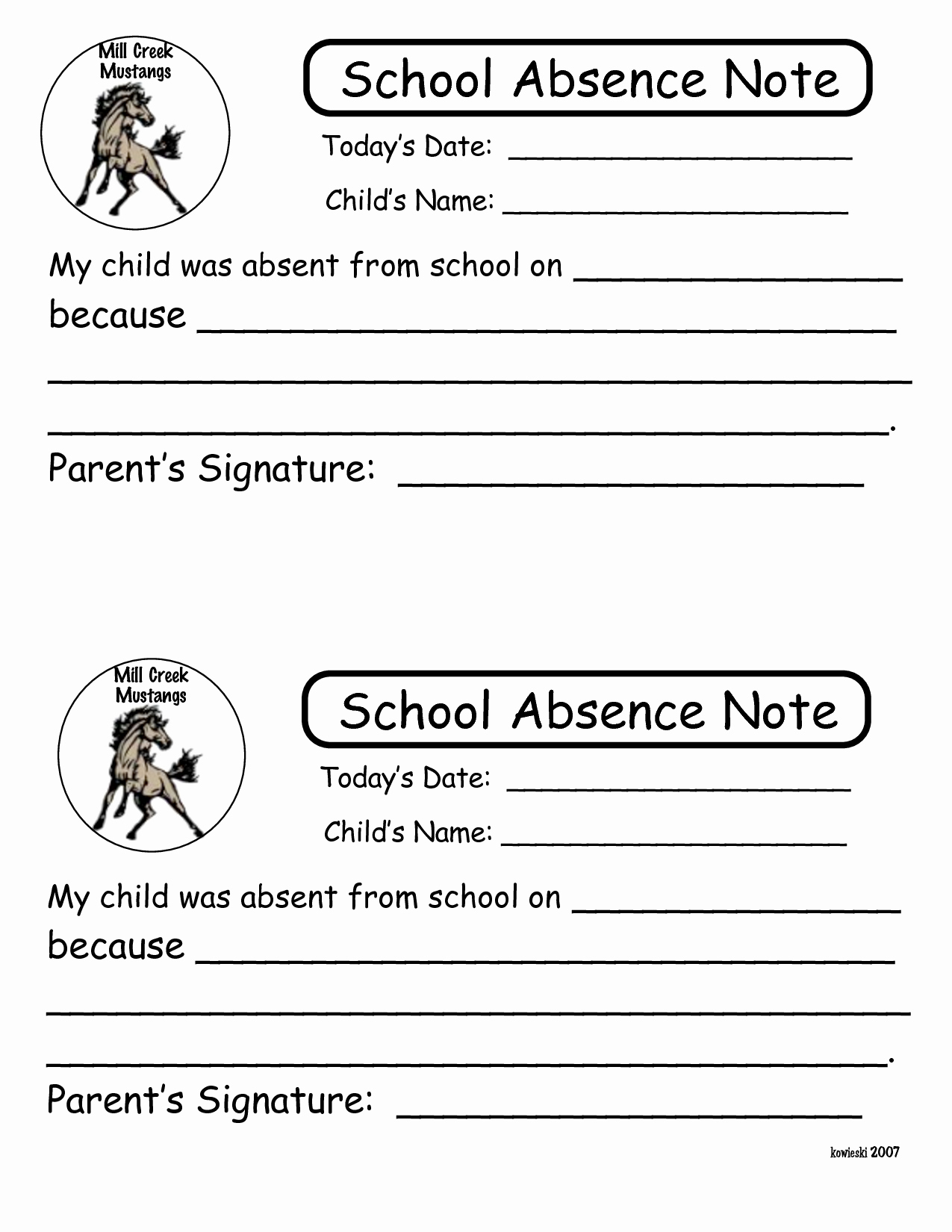 6 Best Of Printable Notes for School Absence