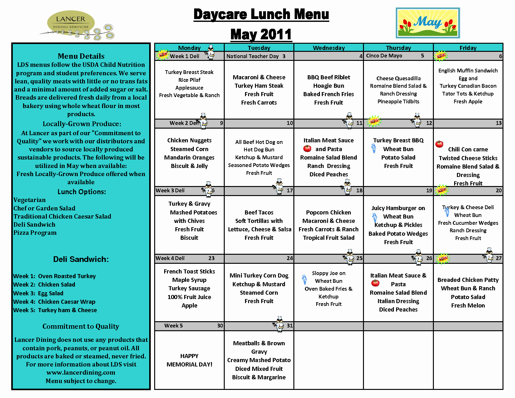 6 Best Of Printable Sample Day Care Menu Food