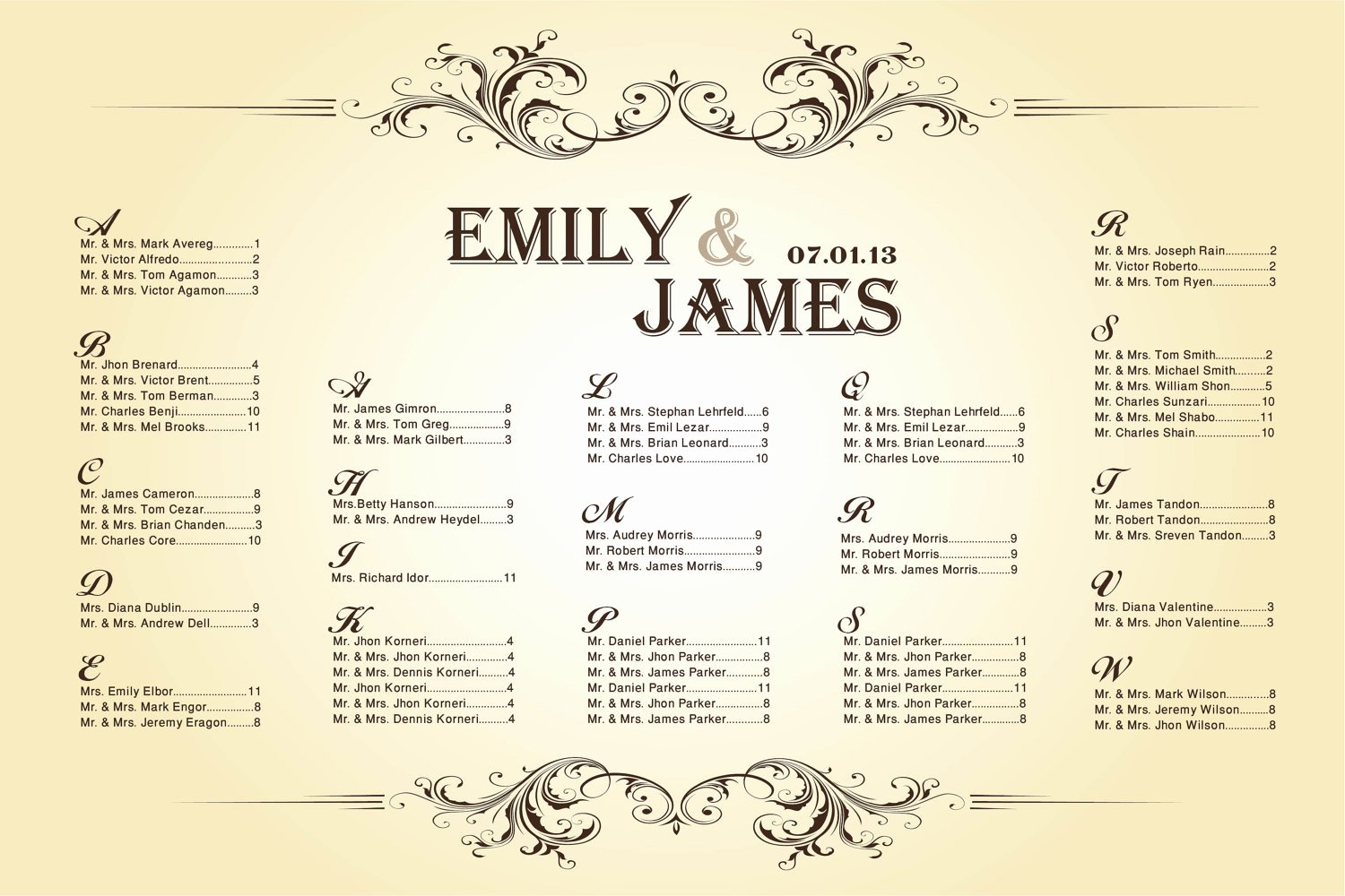 6 Best Of Printable Wedding Seating Chart