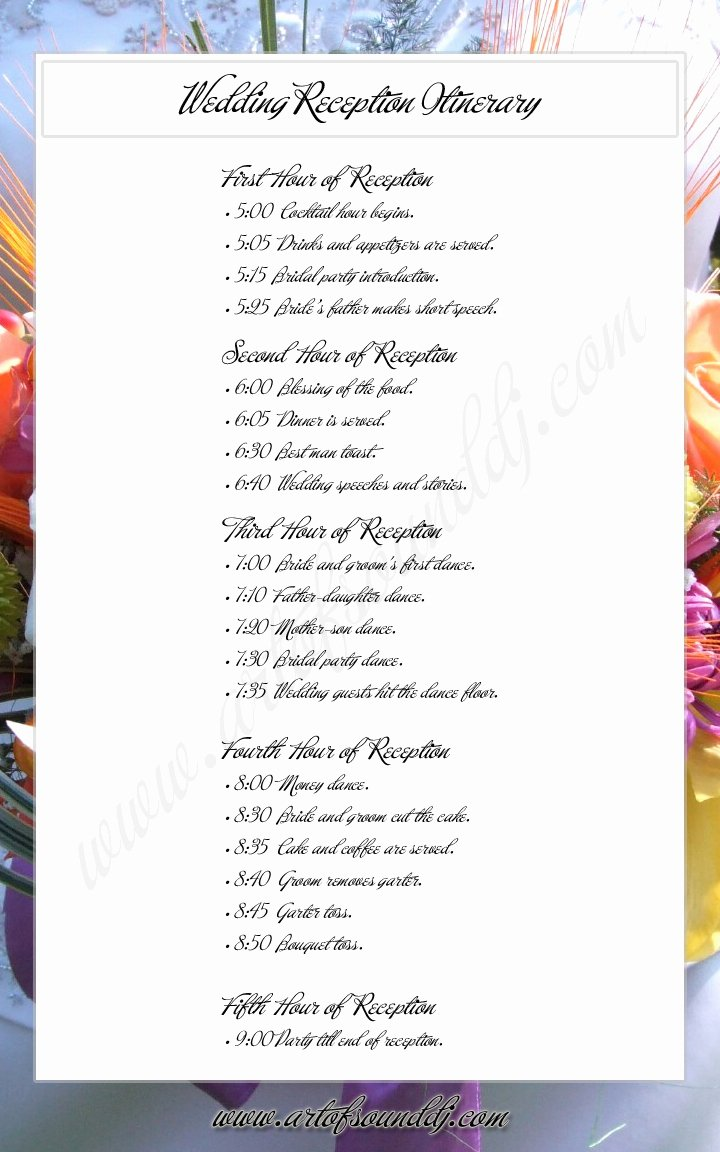 6 Best Of Reception Agenda Printable Wedding