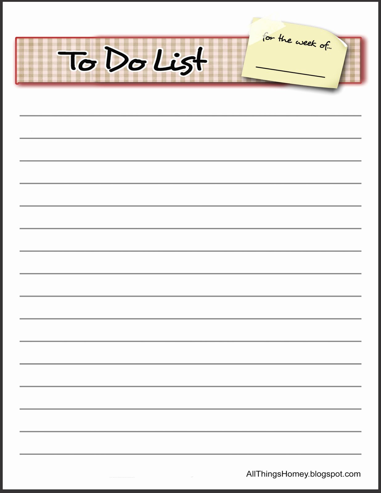 6 Best Of Things to Do List Printable Template