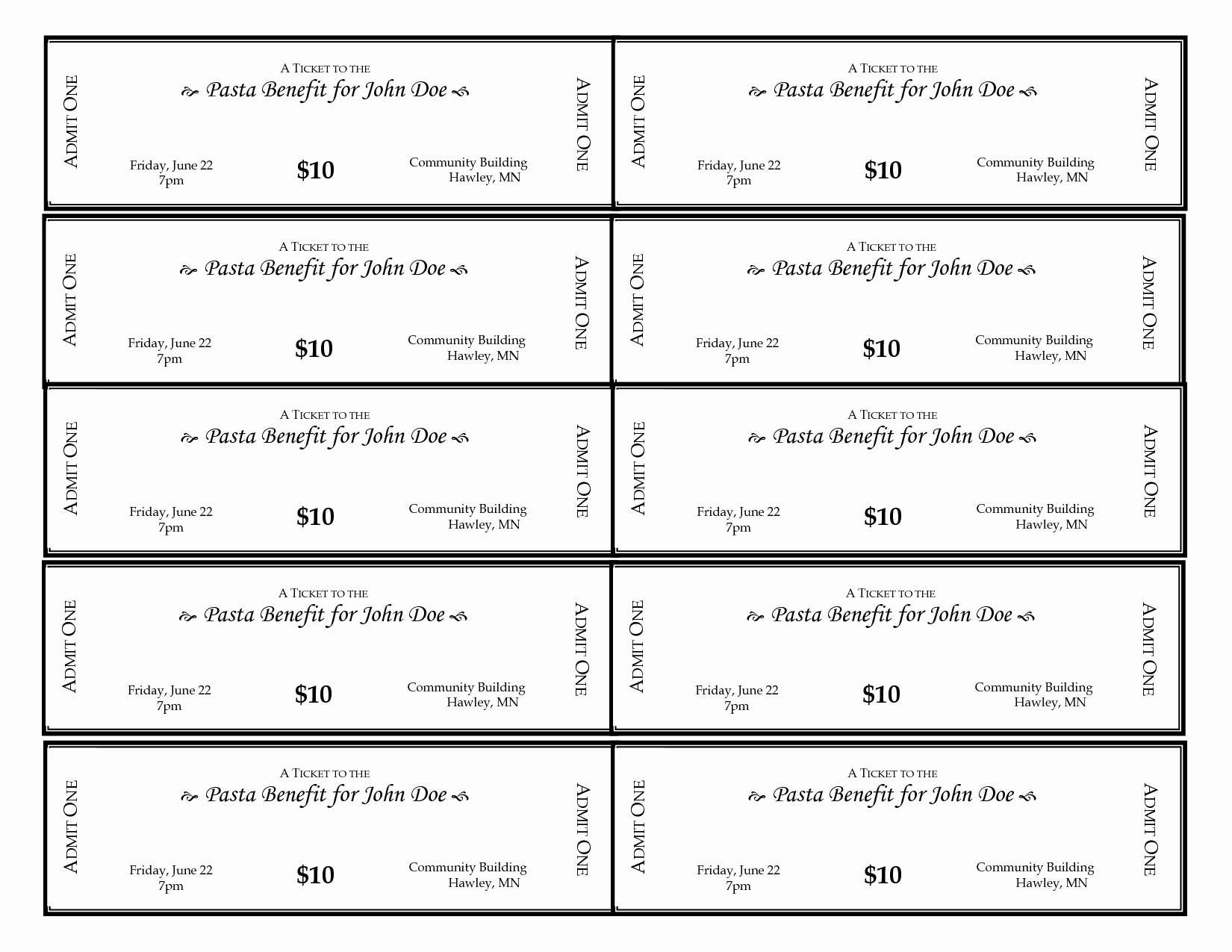 6 Best Of Ticket Template Printable Blank