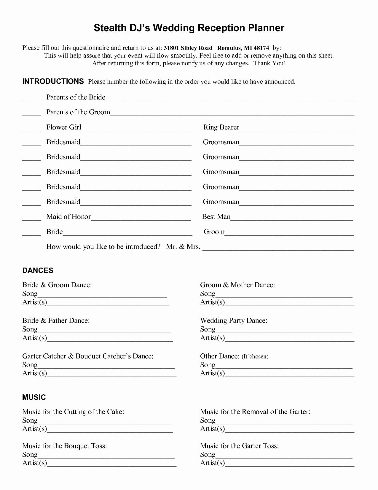 6 Best Of Wedding Reception Planner Printables