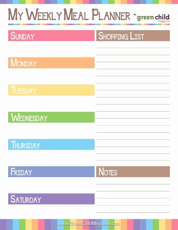 6 Best Of Weekly Meal Planner Printable Worksheets