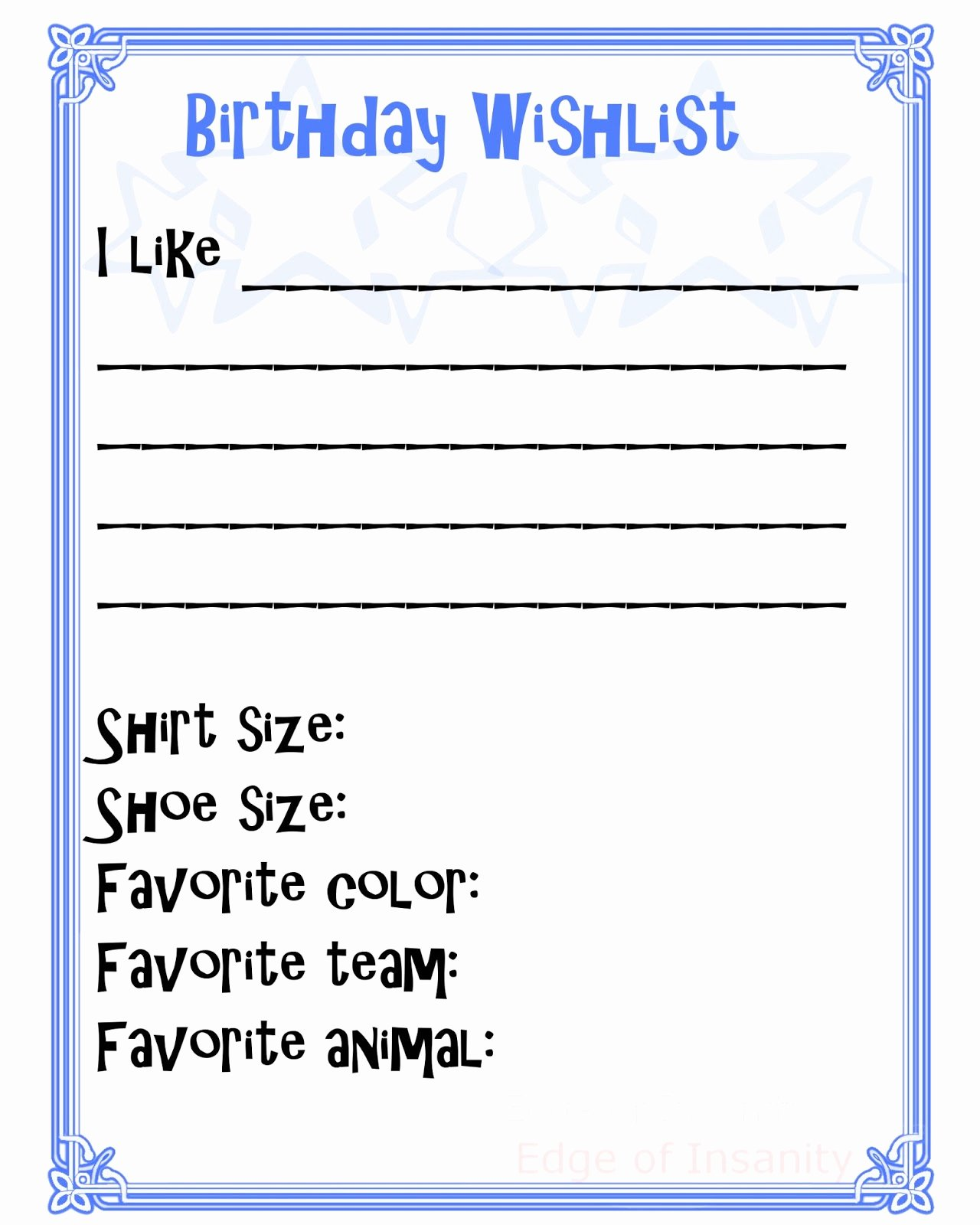 6 Best Of Wish List Printable Free Printable