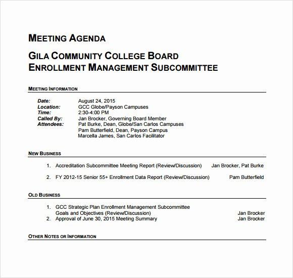 6 Business Meeting Agenda Templates – Free Samples