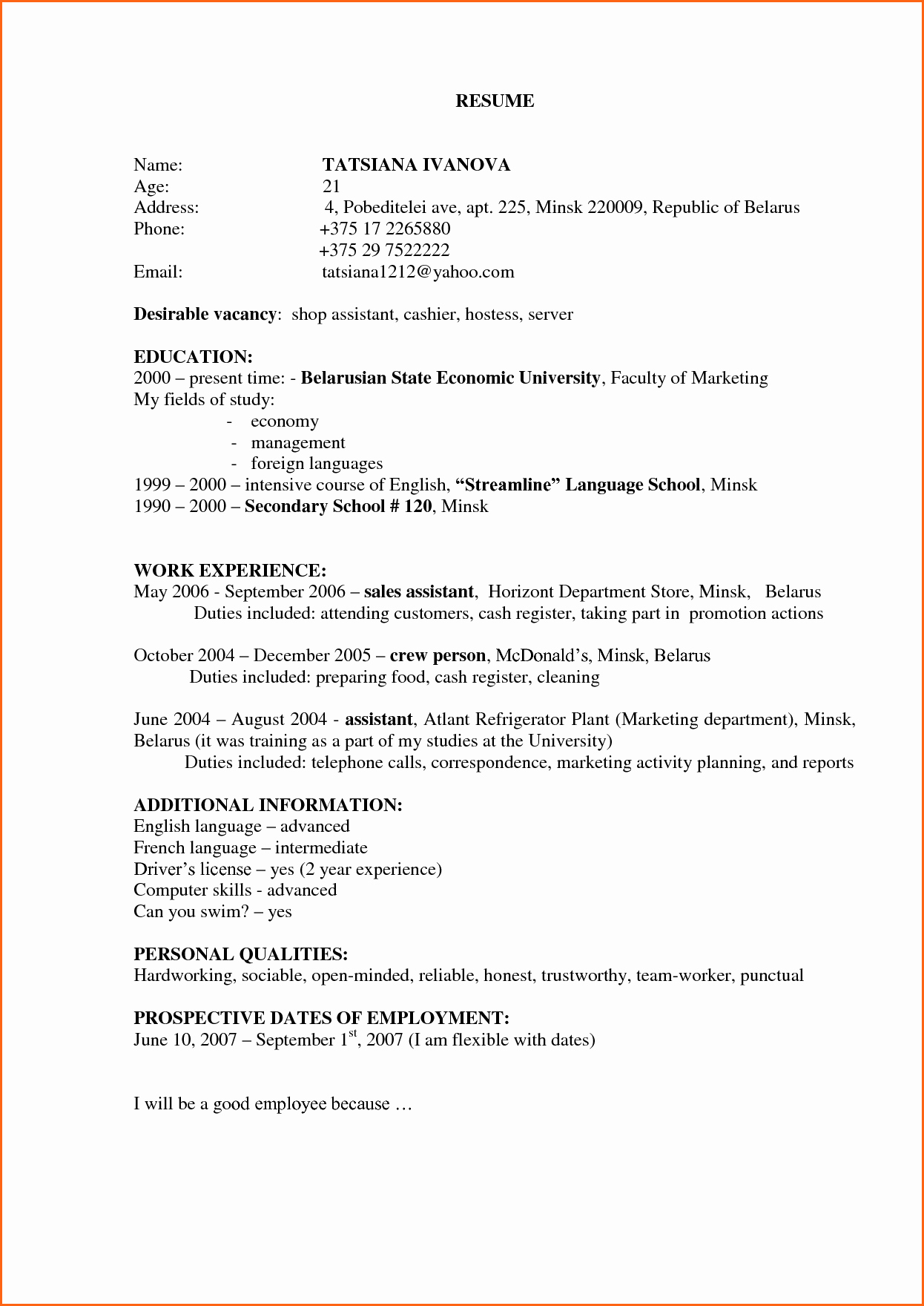 6 Cashier Resume Sample Bud Template Letter