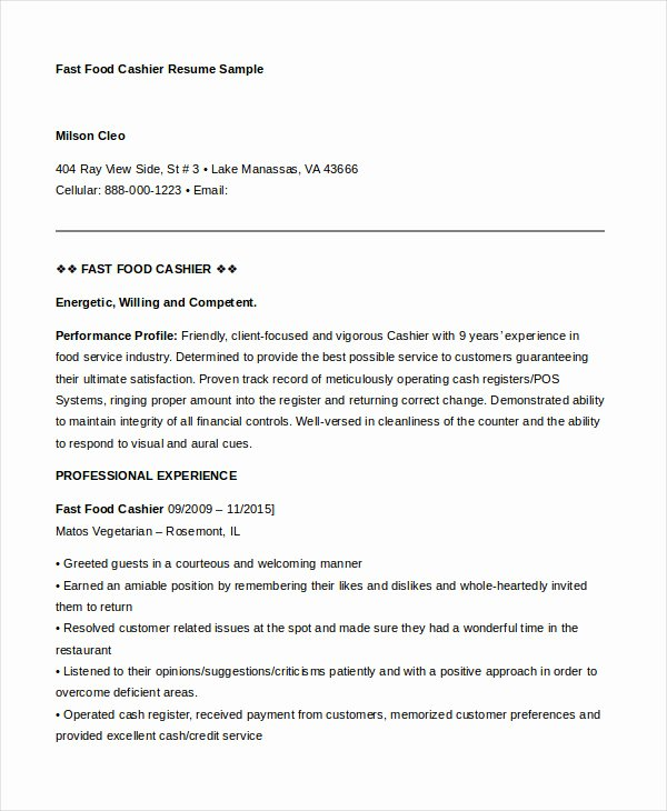Samples 6 Cashier Resume Templates Pdf Doc