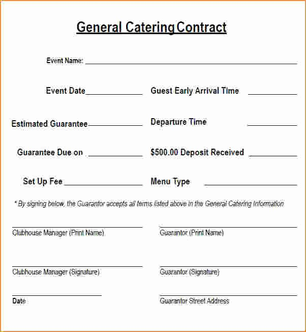 6 Catering Contract Template Free