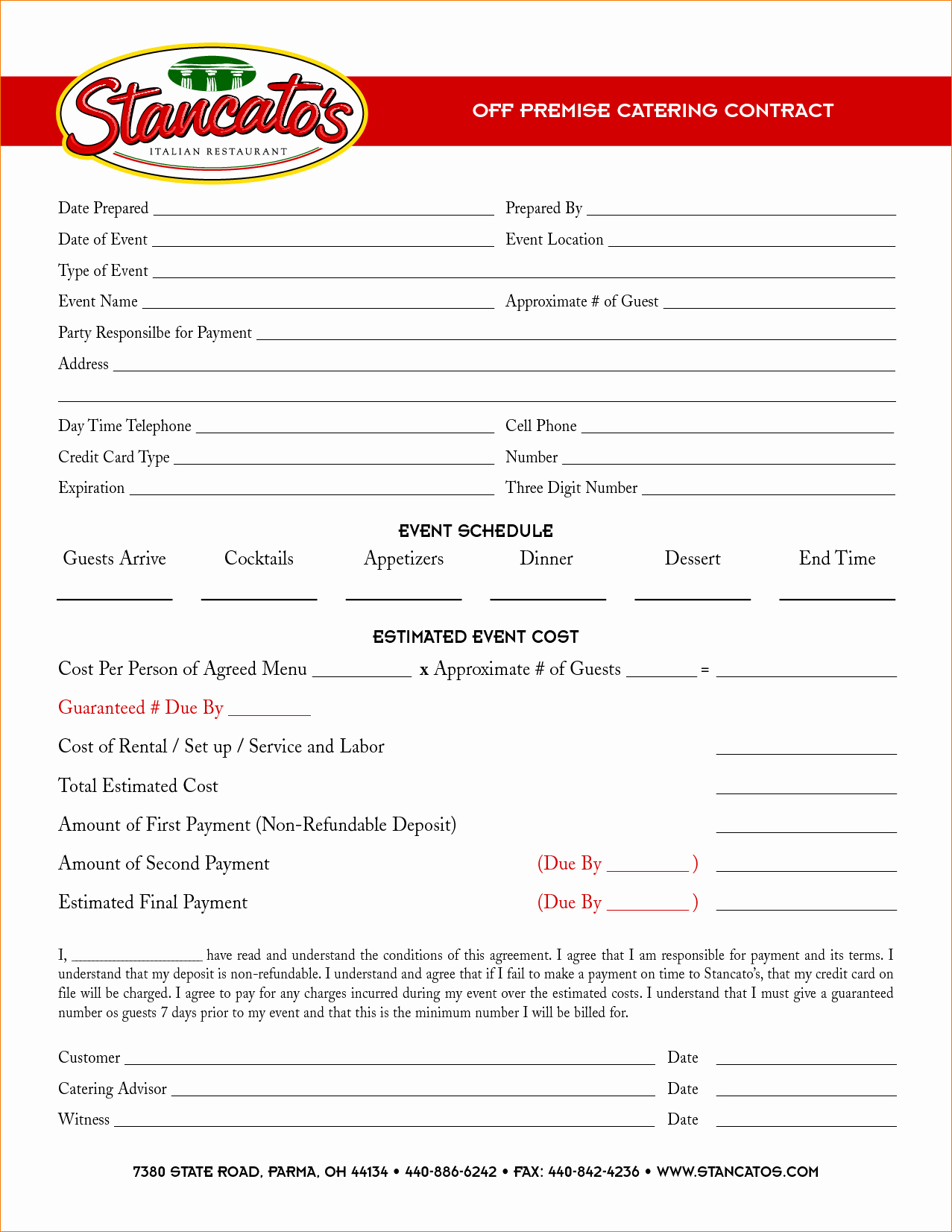 6 Catering Contract Template
