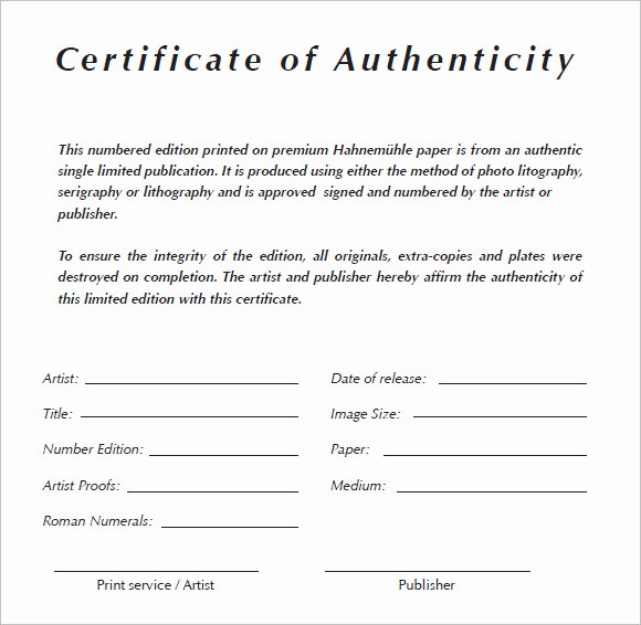 6 Certificate Authenticity Templates Website
