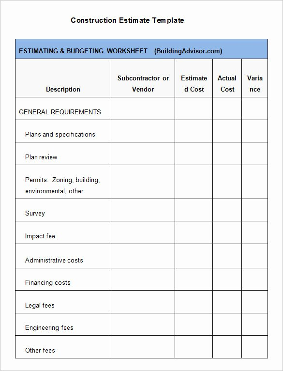6 Contractor Estimate Templates Pdf Doc