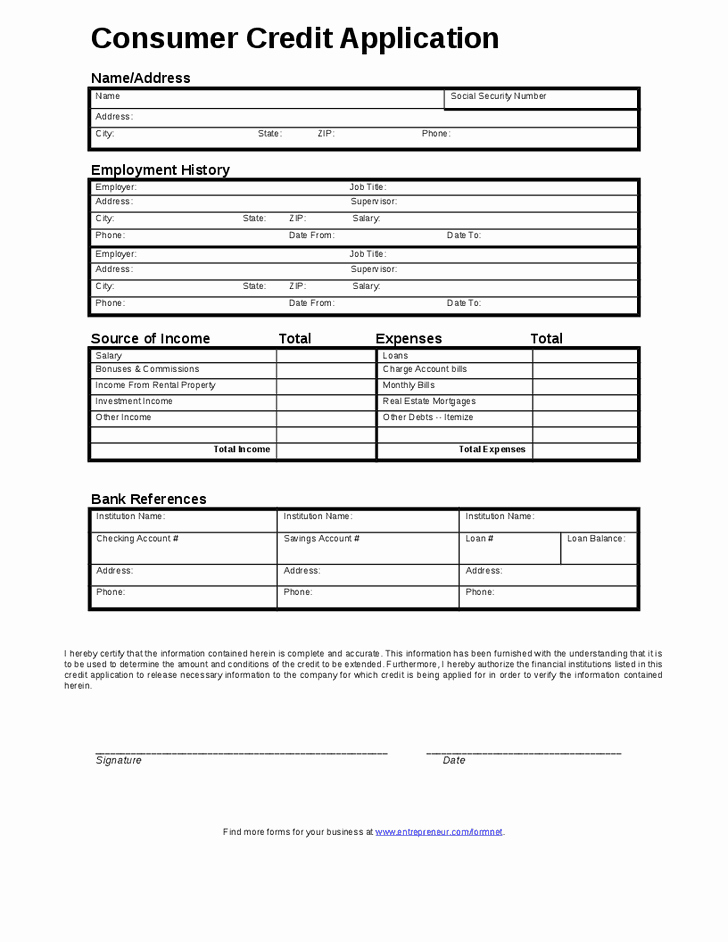 6 Credit Application forms – Word Templates