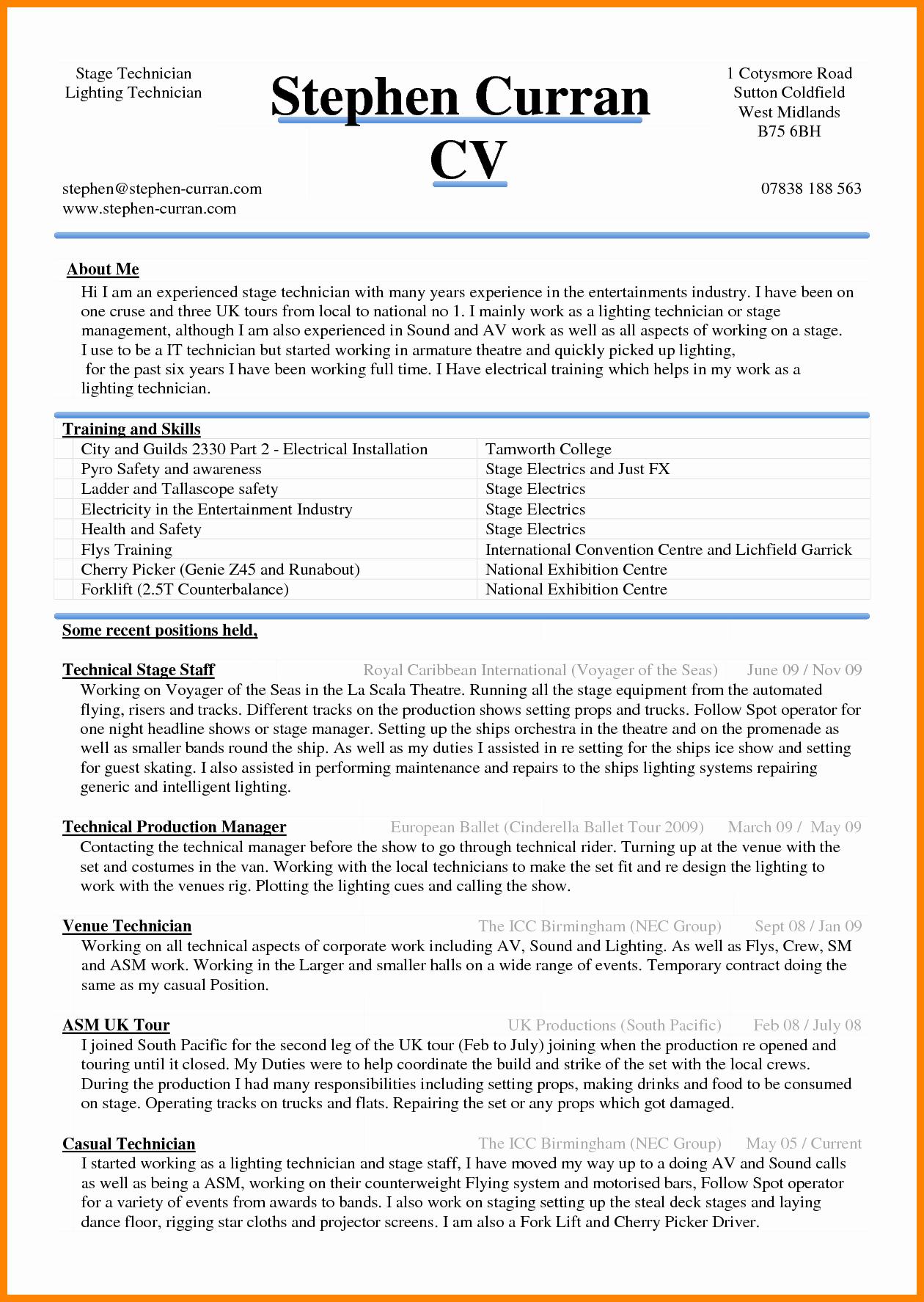 6 Curriculum Vitae In Ms Word