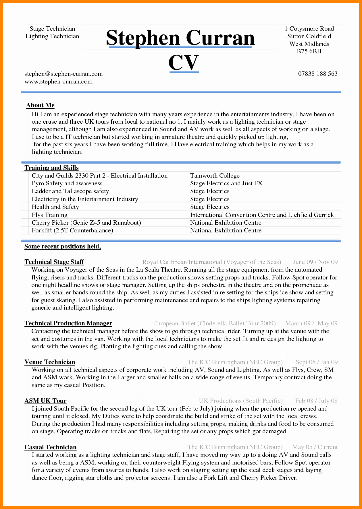 6 Curriculum Vitae In Ms Word