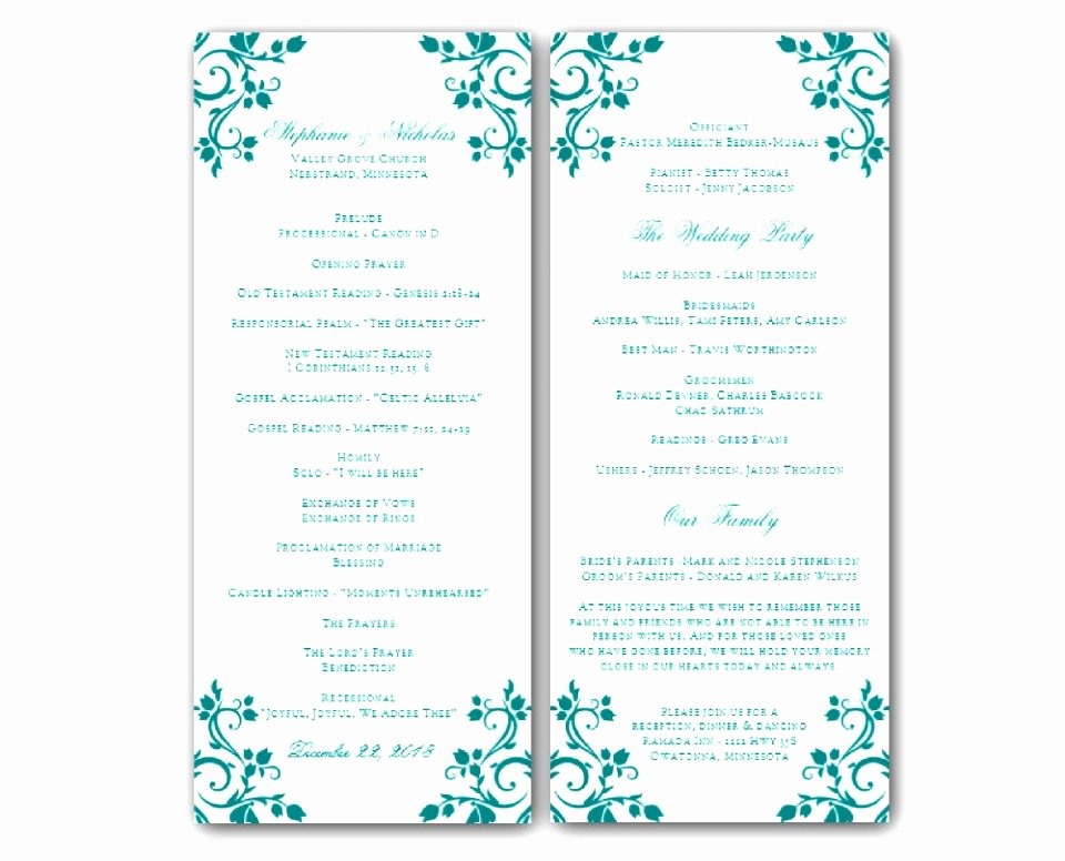 6 Downloadable Wedding Program Templates Free Awoop