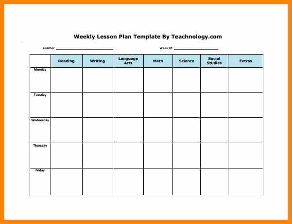 6 Editable Weekly Lesson Plan Template