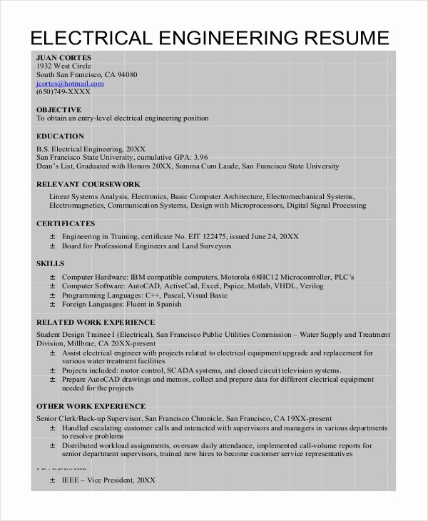 6 Electrical Engineering Resume Templates Pdf Doc