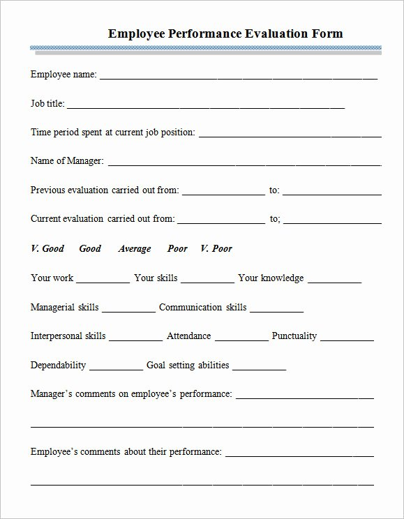 6 Employee Performance Appraisal form Templates