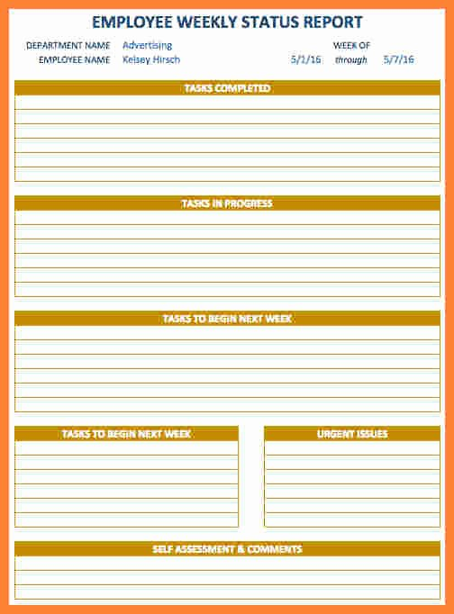 6 Employee Weekly Status Report Template