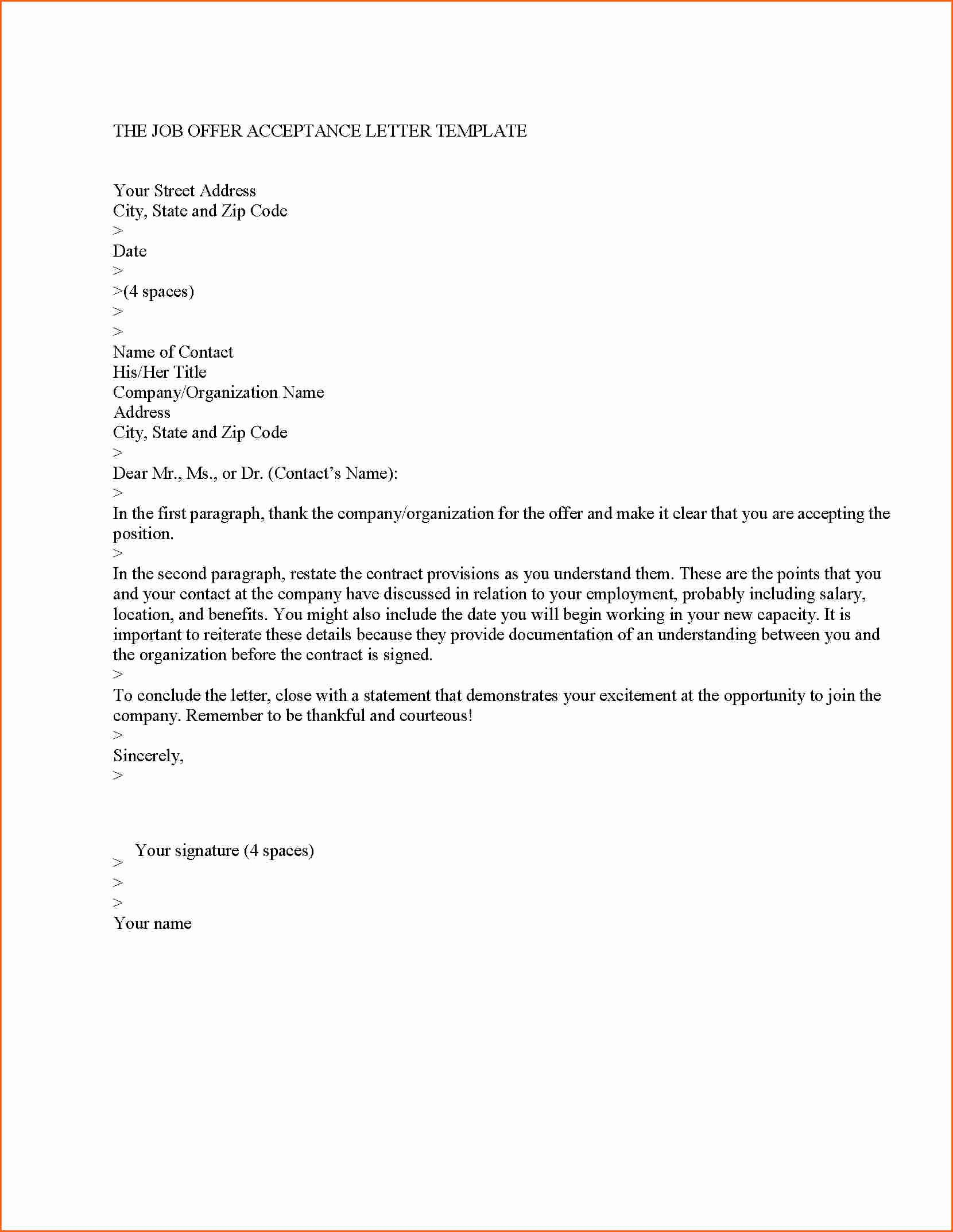 6 Employment Offer Letter Template Bud Template Letter