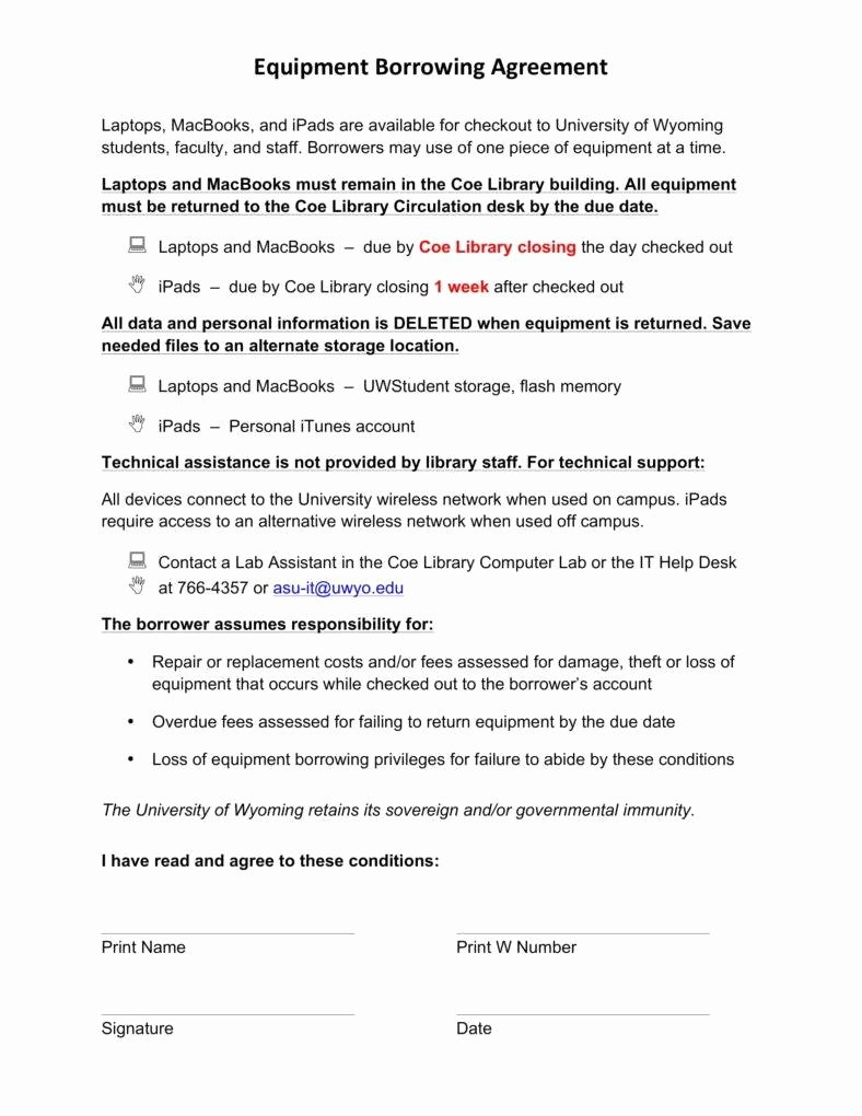 6 Equipment Loan Agreement Templates Pdf