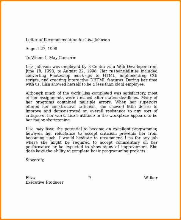 6 Examples Of Professional Letters Of Re Mendation