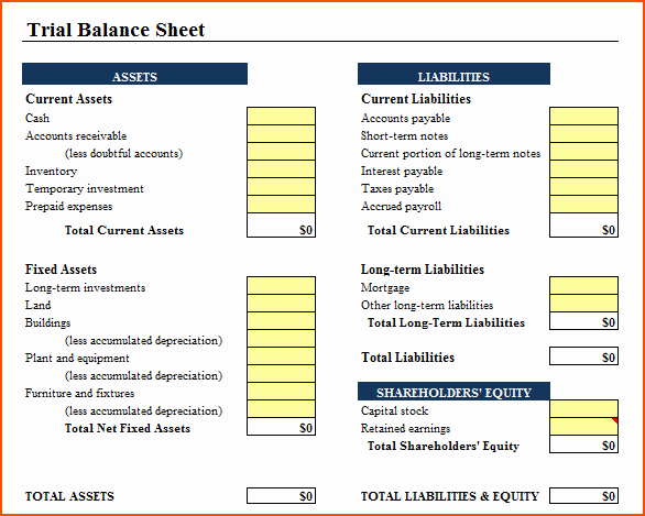 6 Excel Balance Sheet Template Bookletemplate