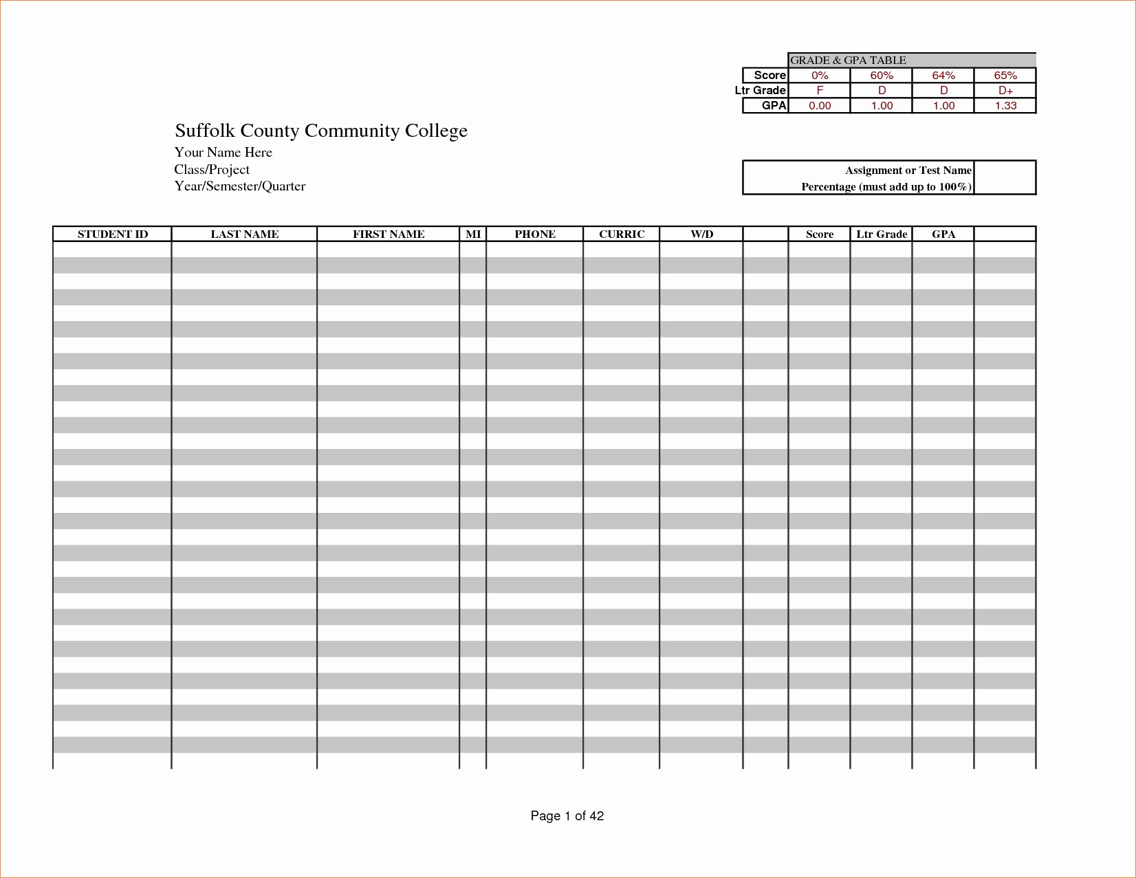 6 Excel Gradebook Template