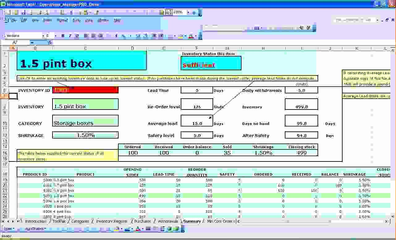 6 Excel Inventory Management Template