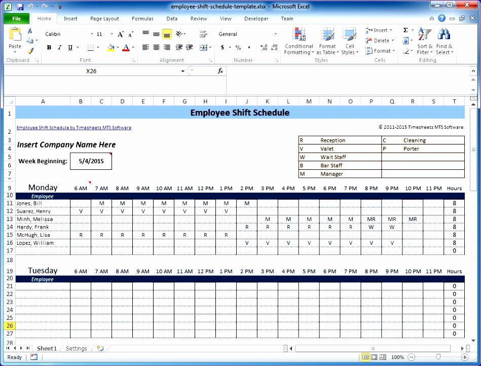 6 Excel Templates for Scheduling Employees