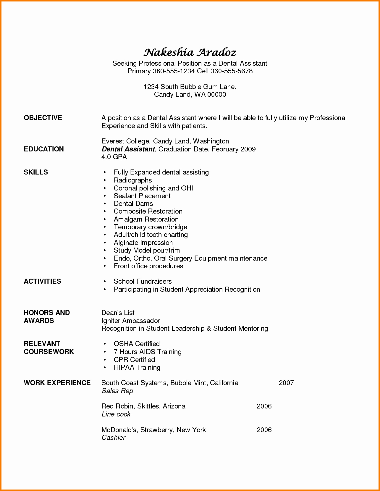 6 Experience Dental assistant Resume
